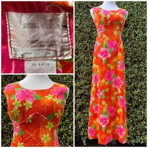 """Royal Hawaiian"" Vintage Maxi-Dress Muu-Muu Small"